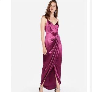 Satin Wrap Front Maxi Dress